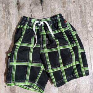 🏊 Black & Bright Green Swim Trunks
